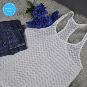White Racerback ZigZag Pattern Tank Top by SO